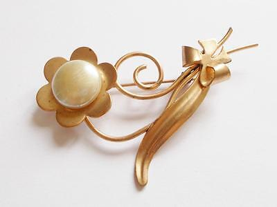 Vintage 1940's Rose Gold Tone Flower Floral Bouquet Pearl Bead Spray Brooch