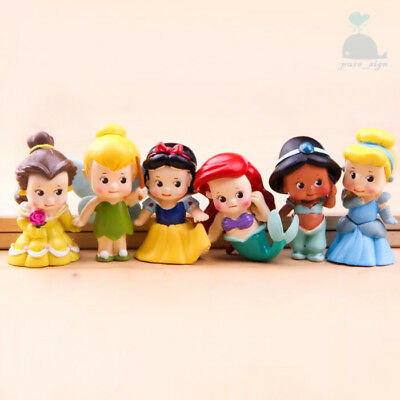6pcs Disney Princess Mini Dolls Resin Character Figures Toy Miniature