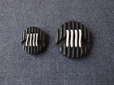 2 Antique 1930's Art Deco White Waxed Thread Carved Black Wooden Buttons