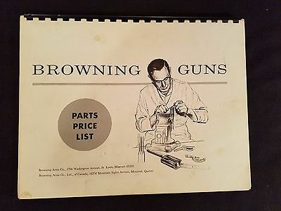 Browning Parts Price List 1967 Illustrated Exploded Views Detail Rifles Pistols