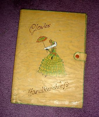 Vintage Art Deco Kid Leather Handkerchief Gloves Case Handpainted Crinoline Lady