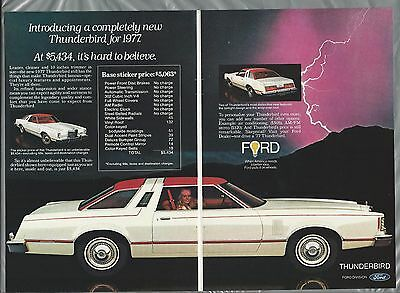 1977 Ford THUNDERBIRD 2-page advertisement, FORD Thunderbird, T-Bird