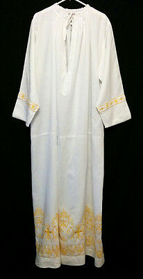 Vintage LINEN ALB GOLD EMBROIDERY Keys Arma Christi Priest Vestments Clergy