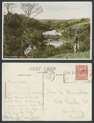Jersey Waterworks Valley KG5 1933 Old Real Photo Colour Postcard Vallee des Eaux