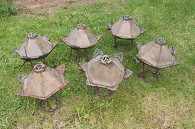 Architectural Salvage Cast Iron & Copper Drive Lanterns / Lamp Heads X 6