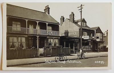 FELIXSTOWE, Station Road, Post Office & Dairy RP - 1920's - Vintage postcard