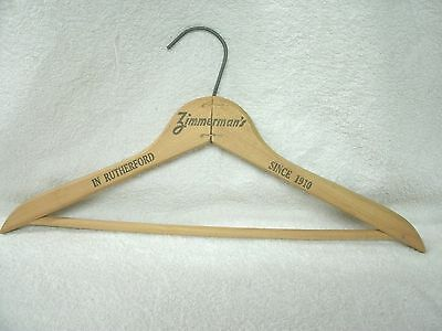 """Vintage Wood Clothes Hanger Advertising """"Zimmerman's- Rutherford NJ"""""""