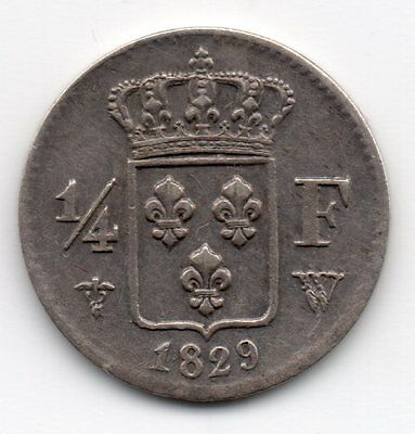 Charles X 1/4 Franc Argent 1829 W Lille  !