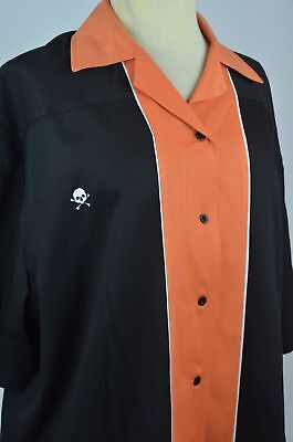 Crusin USA Black Orange Skull Crossbones Logo Women's Bowling Shirt Sz 2XL XXL