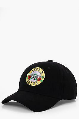 Boohoo Mens Guns And Roses License Embroidered Cap in Black size One Size