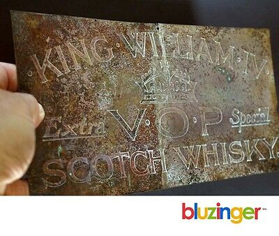 Antique Brass Whiskey Advertising Plaque KING WILLIAM IV SCOTCH WHISKY
