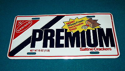 Vintage! SALTINE CRACKERS embossed metal LICENSE PLATE @ Novelty NABISCO Promo