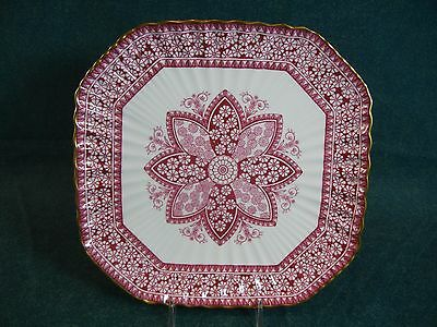 Copeland Spode Red / Pink Primrose China Pattern 1/2722 Square Luncheon Plate(s)