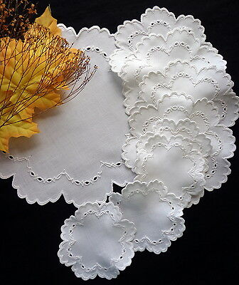 9 Pc Desert Set: Antique White Linen Mats and Doilies Embroidered Eyelet Lace