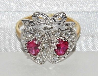 Edwardian 9ct Yellow Gold on Silver Ruby & Zircon Sweet heart Bow Ring - size Q