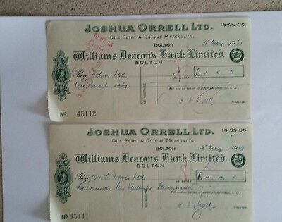 Two vintage Williams Deacons Bank Ltd cheques. 1964.