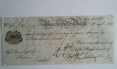 Antique Macclesfield   Bank cheque. 1846.