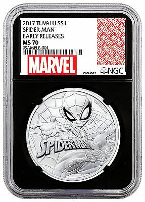 2017 Tuvalu Marvel Spider-Man 1 oz Silver $1 NGC MS70 ER Black SKU48162