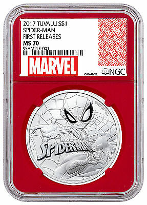 2017 Tuvalu Marvel Spider-Man 1 oz Silver $1 NGC MS70 FR Red SKU48164