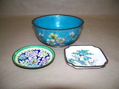3 Old Chinese Cloisonné Enamel on Copper Bowls Brush Washers Lady Woman Flowers