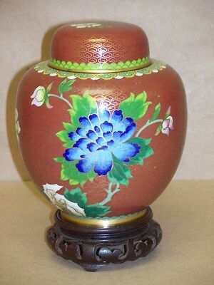 Old Japanese Cloisonné Enamel on Brass Purple Chrysanthemum Flower Jar Tea Caddy