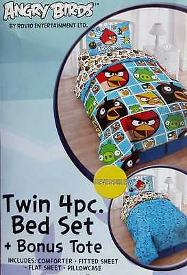 Rovio Angry Birds Mosaic Blue Twin Comforter Sheets 4Pc Bedding Set New.