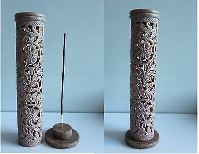 Hand Carved Soapstone Incense Stick Burner Tower Holder Ash Catcher T19