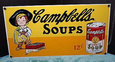 ANDE ROONEY'S PORCELAIN ENAMELED ADVERTISING SIGNS ~ CAMPBELL'S SOUP ~ 1995 ~a