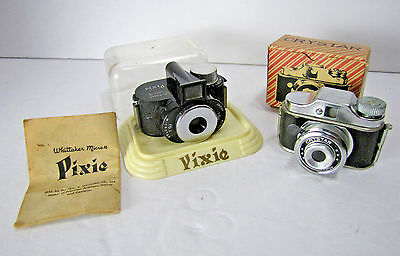 Whittaker Micro-16 Pixie & Crystar w/ Box Miniature Spy Subminiature Cameras