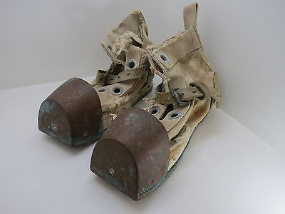 2 Bronze & Canvas Diving Boots Diver Weight Navy Usa American (#2459)