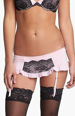 NEW Black Bow By Felina Rumour Lace Overlay Garter Skirt Belt #599998 Pink Sz S