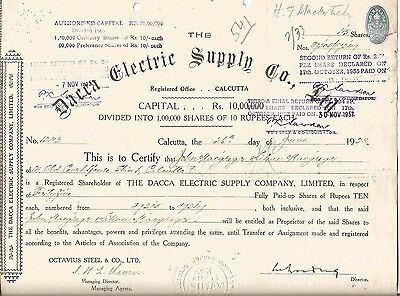 1928 India share: Dacca Electric Supply Co Ltd, owners:John & Lilian Macgregor