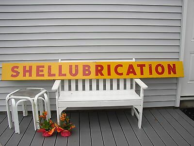 Orig Porcelain SHELLUBRICATION Shell Lubrication Gas Oil Service Station SIGN