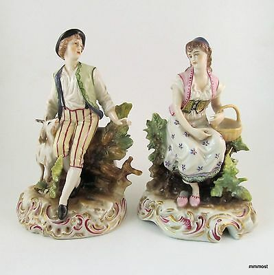 Antique Volkstedt Germany Porcelain Pair Pastoral Man Goat & Woman Figurines