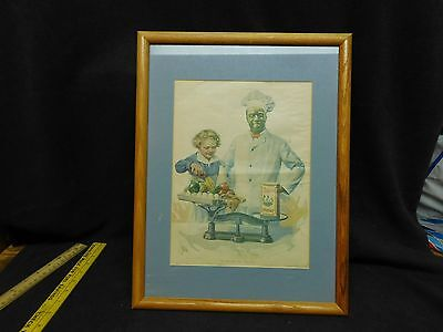 "Cream Of Wheat Ad ""A STUDY IN VALUES"" 1923 Brewer Art FRAMED"