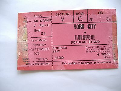York City v Liverpool, Complete Ticket, League Cup Round 2, ( 10/9/1975)