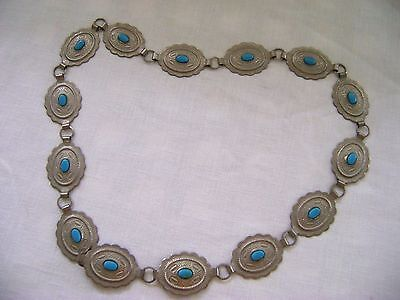 """Women's Vintage Silver Tone Metal ConCho Belt with Faux Turquoise to Size 35"""""""