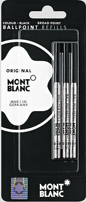 3 Montblanc Black Broad Point  Ballpoint Refills New In Pack
