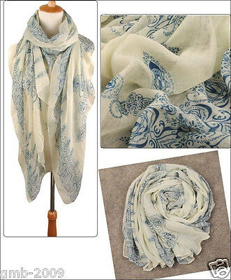 Fashion Women's Beige Long Voile Cotton Scarf Wrap Ladies Shawl Girls Scarves