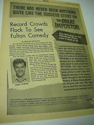 TONY CURTIS is THE GREAT IMPOSTOR 1961 Promo Poster Ad