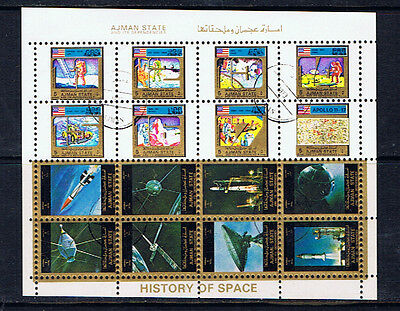 Ajman 1-5 Riyals History of SPACE - 2 Miniature Sheets of 8 CTO