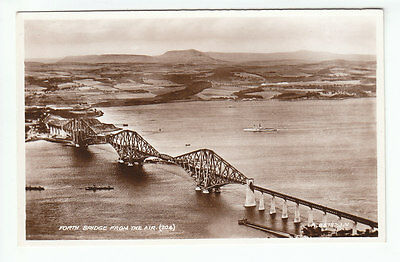 Forth Bridge From The Air 1936 Real Photograph Valentines A84782 Old Postcard