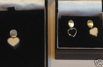 Brushed 925 Sterling Silver Heart Earrings or Pendant Swivel Black and White