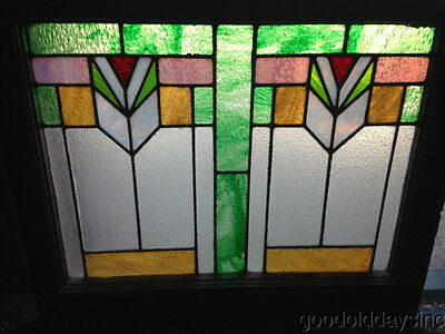 "Beautiful Art Deco Stained Leaded Glass Window from Chicago 28"" by 23"""