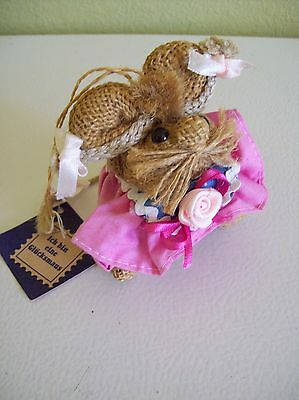 Burlap Mouse Ornament Girl German Ich bin eine Glucksmaus