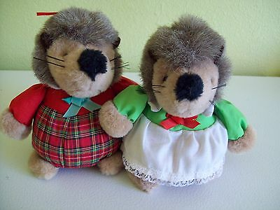 Hedgehog Stuffed Animal Pair Mr. & Mrs. Christmas Boy Girl Germany Kusterer