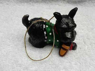 Scotty Scottie  Dog Ceramic Black With  Green Polkdot Sweater  Brown Slipper Orn