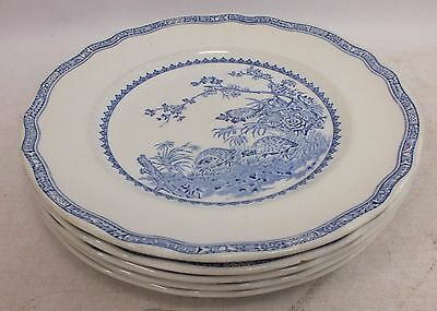 Set Of 5x FURNIVALS Quails Blue & White Ironstone Pottery Dinner PLates - H09