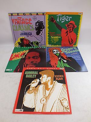"""Set of 5 Reggae 12"""" Vinyl LPs incl Gregory Isaacs Rohit Records 1.2KG - H42"""