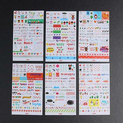 6 Sheet Cartoon Diary Deco Stickers Decoration Labels Scrapbook Journal Crafts
